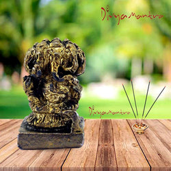 Divya Mantra Sri Hindu God Panchmukhi (Five Faced) Ganesha Idol Sculpture Statue Murti - Puja Room, Meditation, Prayer, Office, Business, Temple, Home Decor Lucky Gift Item / Product Set of 2 - Yellow