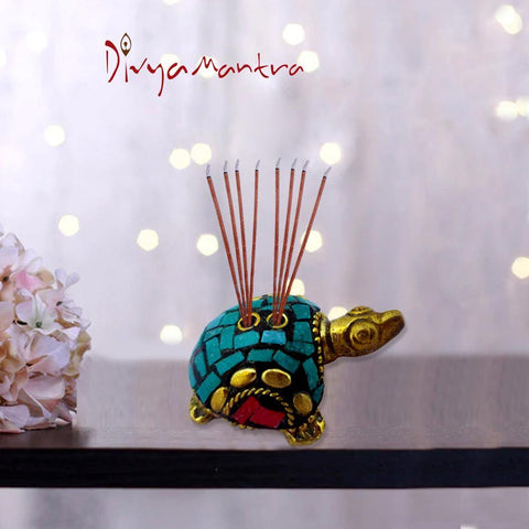 Divya Mantra Decorative Feng Shui Tortoise/Turtle Pair Pure Brass Aroma Incense Stick Holder/ Agarbatti Stand For Good Luck, Puja Room, Home Decor, Showpiece Gift Item Collection Set of 2 -Multicolour