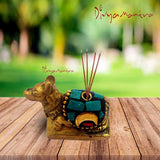 Divya Mantra Decorative Hindu Divine Bull Sri Nandi Pair Pure Brass Aroma Incense Stick Holder/ Agarbatti Stand - Good Luck, Puja Room, Home Decor, Showpiece Gift Item Collection Set of 2 -Multicolour - Divya Mantra