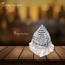 Divya Mantra Meru Sri Meruprastha Shree Yantra Mandala High Quality Crystal Sphatik Hindu Sacred Geometry Spiritual Yoga Table Art Home Decor Showpiece Items For Meditation, Chakra Healing - Clear - Divya Mantra