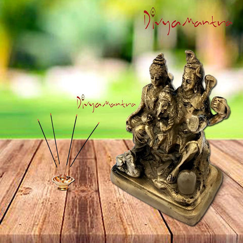 Divya Mantra Hindu God Shankar Bhagwan Parvati Devi and Ganesha Shiv Parivar Idol Sculpture Statue Murti-Puja Room, Meditation, Office, Home Decor Gift Collection Item/Product - Money,Good Luck-Yellow - Divya Mantra