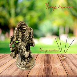 Divya Mantra Sri Hindu God Panchmukhi (Five Faced) Hanuman Idol Sculpture Statue Murti - Puja Room, Meditation, Prayer, Office, Business, Temple, Home Decor Lucky Gift Collection Item/Product - Yellow - Divya Mantra