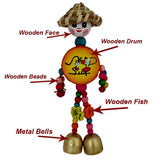 Divya Mantra Decorative Wooden Smiley Man with Metal Bells Car Rear View Mirror Decor Charm / Baby Stroller Seat, Crib Decoration Toy / Home Kitchen Wall Hanging Ornament Boho Lucky Item - Multicolor - Divya Mantra