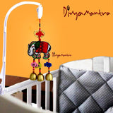 Divya Mantra Decorative Handmade Elephant with Metal Bells Car Rear View Mirror Decor Charm / Baby Stroller Seat, Crib Decoration Toy / Home Kitchen Wall Hanging Ornament Boho Lucky Item - Multicolor - Divya Mantra