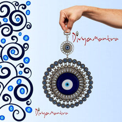 Divya Mantra Turkish Hamsa Glass Greek Evil Eye Flower Wall Hanging Decor Ornament for Home Kitchen Door Car Rear View Mirror Decoration Turkey Decorations Good Luck Charm Protection Amulet - Blue - Divya Mantra