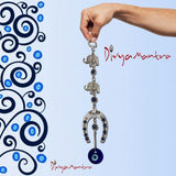 Divya Mantra Turkish Hamsa Glass Greek Evil Eye Elephant Horseshoe Wall Hanging Decor Ornament - Home Kitchen Door Car Mirror Decoration Turkey Decorations Good Luck Charm Protection Amulet - Blue - Divya Mantra