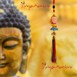 Divya Mantra Gautam Buddha Chinese Blessing Statue Car Interior Rear View Mirror Decoration Accessories Charm Pendant, Wall Hanging  Decor Tibetan Art Ornament For Good Luck, Peace - Multicolor - Divya Mantra