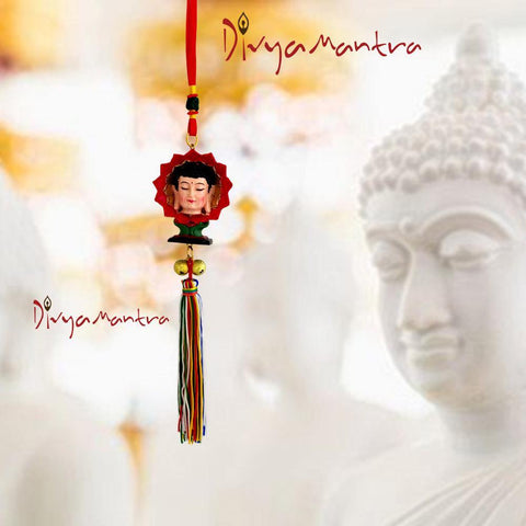 Divya Mantra Gautam Buddha Chinese Blessing Flower Statue Car Interior Rear View Mirror Decoration Accessories Charm Pendant, Wall Hanging  Decor Tibetan Art Ornament For Good Luck, Peace - Multicolor - Divya Mantra