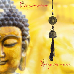Divya Mantra Feng Shui Outdoor Garden Patio Balcony Yard Home Window Car Rear View Mirror Hanging Decor Wind Chime Soothing Unique Bronze Bell, Lucky Chinese Art Coin & Religious Gautam Buddha - Brown - Divya Mantra