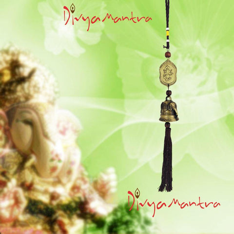 Divya Mantra Feng Shui Outdoor Garden Patio Balcony Yard Home Window Car Rear View Mirror Hanging Decor Wind Chime Soothing Unique Elephants Bronze Bell, Lucky Hindu Symbol Om Ganesha Art Coin - Brown - Divya Mantra