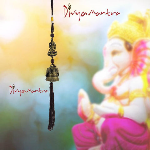 Divya Mantra Feng Shui Outdoor Garden Patio Balcony Yard Home Window Car Rear View Mirror Hanging Decor Wind Chime Soothing Unique Elephants Bronze Bell, Lucky Hindu God Ganesha on Lotus Art - Brown - Divya Mantra