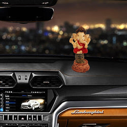 Divya Mantra Bobblehead Figure For Office, Car Dashboard Bobble Head Spring Shaking Sri Ganeshji Kids Toy Doll Showpiece, Collection Figurines, Home Decor / Yoga Meditation Room Decoration - Red - Divya Mantra