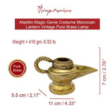 Divya Mantra Aladdin Magic Genie Costume Moroccan Lantern Vintage Pure Brass Lamp Arabian Decorative Light Item for Party Decorations, Home, Kitchen Table Decor Accessories Wedding Decoration - Golden - Divya Mantra