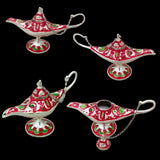 Divya Mantra Aladdin Magic Genie Costume Moroccan Lantern Vintage Lamp Arabian Decorative Light Item for Party Decorations, Home, Kitchen Table Decor Accessories Wedding Decoration Item - Red, Silver - Divya Mantra