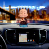 Divya Mantra Bobblehead Figure Car Dashboard Bobble Head Spring Shaking Namaste Lama Buddha Kids Toy Doll Showpiece, Collection Figurines, Office Home Decor / Yoga Meditation Room Decoration - Brown - Divya Mantra