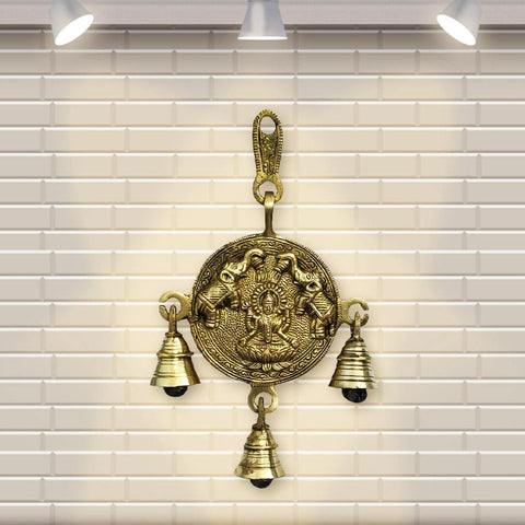 Divya Mantra Indian Hindu Decor Laxmi Wall Hanging Home, Mandir, Pooja Room, Temple, Door Brass Bells Decorative Metal Art Items Good Luck Vastu Sri Lakshmi Goddess of Fortune Buri Nazar Battu - Gold - Divya Mantra