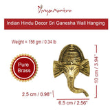 Divya Mantra Indian Hindu Decor Ganesha Wall Hanging Home, Mandir, Pooja Room, Temple, Door Brass Decorative Metal Art Items Good Luck Vastu Sri Ganesh God of Fortune, Wealth Buri Nazar Battu - Golden - Divya Mantra
