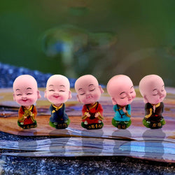 Divya Mantra Bobblehead Figures For Office, Car Dashboard Bobble Head Spring Shaking Lama Buddha Kids Toy Doll Showpieces, Collection Figurines, Home Decor / Yoga Meditation Room Decoration Set -Multi - Divya Mantra