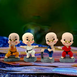 Divya Mantra Bobblehead Figure Work Desk, Car Dashboard Bobble Head Spring Shaking Kung Fu Lama Buddha Kids Toy Doll Showpiece, Collection Figurines, Home, Kitchen Decor, Living Room Decoration -Multi - Divya Mantra