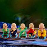 Divya Mantra Tibetan Lama Monks 5 Wealth Luck Men Figure For Office, Car Dashboard Buddha, Kids Toy Doll Showpiece, Collection Figurines, Home Decor, Kitchen, Living Room Decoration Set - Multicolor - Divya Mantra