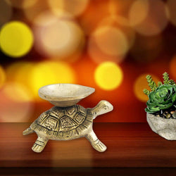 Divya Mantra Feng Shui Tortoise Home Decor Diya Lamp Indian Pure Brass Laxmi Wealth Decorative Oil Light Hindu Diwali Festival Decoration Pooja Room Mandir Pital Diva Handmade Good Luck Charm - Golden - Divya Mantra