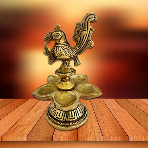 Divya Mantra Home Decor Diya Lamp Indian Brass Samai Hindu Goddess Sri Laxmi Mayura Peacock Design Decorative Oil Light Diwali Decoration Pooja Room Mandir Pital Diva Handmade For Good Luck - Golden - Divya Mantra