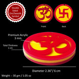Indian Mandir Home Wall Decor Hindu Temple Pooja Items Sacred Om Vastu Decorative Car Hanging Diwali Puja Symbol Sri Aum Sign & Swastik Good Luck Charm Yoga Sculpture - Double Sided, Red, Yellow