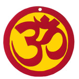 Om Indian Mandir Home Wall Decor Hindu Temple Pooja Items Sacred Ohm Vastu Decorative Car Hanging Diwali Puja Symbol Sri Aum Sign Yoga Sculpture, Buddhist Good Luck Charm - Single Sided, Red, Yellow