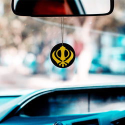 Divya Mantra Sikh Khanda for Car Home Wall Decor Temple Pooja Items Sacred Religious Decorative Showpiece Car Interior Hanging Accessories Sri Khanda Sahib & Lion Sher Good Luck Charm - Black, Yellow