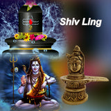Sri Shiva Mahadev Shivling For Home Temple Decor Mandir Room Decoration Accessories Indian Sri Hindu Lord Pooja Murti Puja Articles God Brass Statue Interior Decorative Showpiece Good Luck Money -Gold