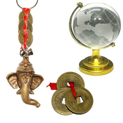Divya Mantra Feng Shui Combo Pack of Good Luck Chinese Coins, Om Ganesha Keychain and Globe - Divya Mantra
