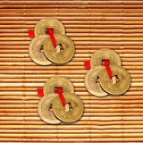 Divya Mantra Chinese Feng Shui Antique Fortune I-Ching Coin Ornaments for Good Luck, Success & Prosperity/Ancient Tibetan Buddhist Wealth Charm Amulet Coins w/ Hole & Red Knot – Brown, Set of 3 - Divya Mantra
