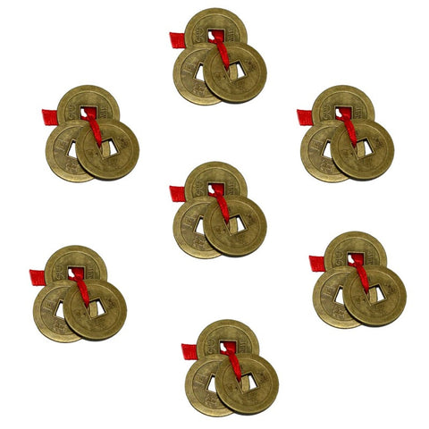 Divya Mantra Combo Pack of 7 Feng Shui Three Lucky Chinese Coins with Red Ribbon For Money, Wealth Luck - Divya Mantra