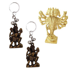 Divya Mantra Sri Hindu God Panchmukhi (Five Faced) Hanuman Idol Sculpture Statue Murti Puja/Pooja Room, Meditation, Prayer, Office, Temple, Home Decor & 2 Hanuman Keychains -Bike/Car/ Home; Gift Set