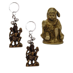 Divya Mantra Sri Hindu God Hindu God Hanuman/ Bajrang Bali Idol Sculpture Statue Murti Puja/Pooja Room, Meditation, Prayer, Office, Temple, Home Decor & 2 Hanuman Keychains -Bike/Car/ Home; Gift Set