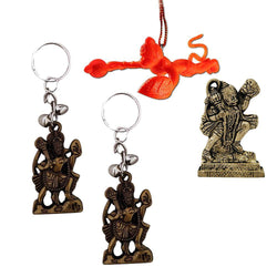 Divya Mantra Sri Hindu God Hindu God Bajrang Bali Idol Sculpture Statue Murti, Orange Flying Hanuman Car Rear View Mirror Hanging Interior Accessories & 2 Hanuman Keychains -Bike/Car/ Home; Gift Set