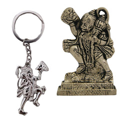 Divya Mantra Sri Hindu God Hindu God Hanuman/ Bajrang Bali Idol Sculpture Statue Murti Puja/Pooja Room, Meditation, Prayer, Office, Temple, Home Decor & Sri Hanuman Keychain -Bike/Car/ Home; Gift Set