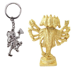 Divya Mantra Sri Hindu God Panchmukhi (Five Faced) Hanuman Idol Sculpture Statue Murti Puja/Pooja Room, Meditation, Prayer, Office, Temple, Home Decor & Sri Hanuman Keychain -Bike/Car/ Home; Gift Set