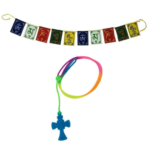 Divya Mantra Car Rear View Mirror Hanging Interior Decor Accessories Jesus on Cross Pendant Amulet Talisman for Protection and Tibetan Buddhist Om Mani Padme Hum Positive Vibes Prayer Flags; Blue - Divya Mantra