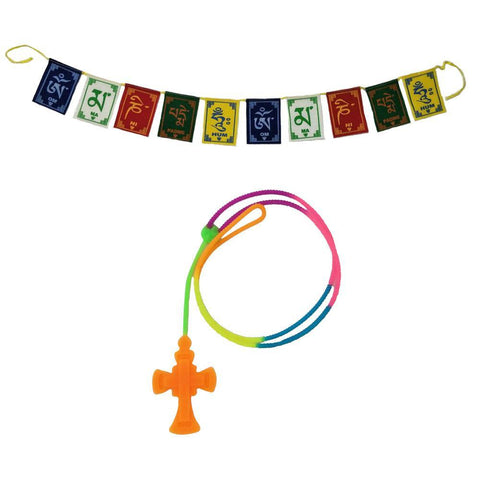 Divya Mantra Car Rear View Mirror Hanging Interior Decor Accessories Jesus on Cross Pendant Amulet Talisman for Protection and Tibetan Buddhist Om Mani Padme Hum Positive Vibes Prayer Flags; Orange - Divya Mantra