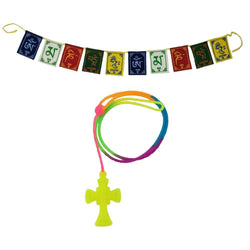 Divya Mantra Car Rear View Mirror Hanging Interior Decor Accessories Jesus on Cross Pendant Amulet Talisman for Protection and Tibetan Buddhist Om Mani Padme Hum Positive Vibes Prayer Flags; Green - Divya Mantra
