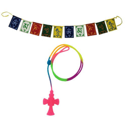Divya Mantra Car Rear View Mirror Hanging Interior Decor Accessories Jesus on Cross Pendant Amulet Talisman for Protection and Tibetan Buddhist Om Mani Padme Hum Positive Vibes Prayer Flags; Pink - Divya Mantra