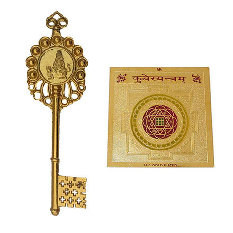 Divya Mantra Sri Chakra Sacred Hindu Geometry Yantram Ancient Vedic Tantra Scriptures Sree God Kuber Puja Yantra for Meditation, Prayer, Office, Business, Home/Wall Decor & Kubera Kunji Key Combo Set - Divya Mantra