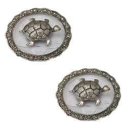 "Divya Mantra Feng Shui Metal 4"" Tortoise / Turtle with Glass Water 5.5"" Diameter Plate; Vastu Living Positivity, Wealth, Money, Good Luck & Longevity; Home, Office Decor Gift Items / Products Set of 2"
