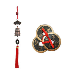 "Divya Mantra Car Decoration Rear View Mirror Hanging Accessories Feng Shui Lucky Bell and Three Lucky Chinese 2"" Coins for Money, Wealth, Good Luck, Vastu,; Home, Office Decor Gift Items / Products - Divya Mantra"