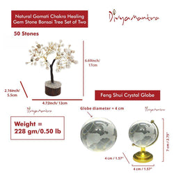 Divya Mantra Feng Shui Crystal Globe & Natural Gomati Chakra Healing Gem Stone Bonsai Fortune Vastu Plant Tree; Good Luck, Wealth, Success & Prosperity; Home Office Table Decor Gift Item; 100 Stones