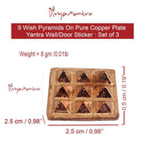 Divya Mantra Set of 3 Pure Copper Plates with 9 Wish Pyramids Yantra Wall/Door Sticker, Vastu Dosh Nivaran, Good Luck, Money, Vaastu Shastra Remedy, Protection Amulet- Home, Office Decor Item - Brown - Divya Mantra