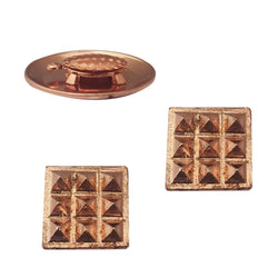 Divya Mantra Combo Of 2 Pure Copper Plates with 9 Wish Pyramids Vastu Dosh Nivaran Yantra Door Sticker & Feng Shui 1.5 Inch Tortoise/Turtle with 2 Inch Diameter Water Plate For Good Luck, Money-Brown - Divya Mantra