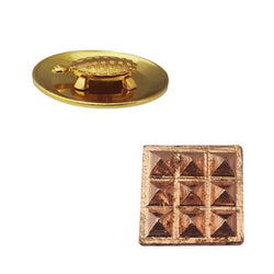 Divya Mantra Set of 2 Pure Copper Plates with 9 Wish Pyramids Vastu Dosh Nivaran Yantra Door Sticker-Brown & Feng Shui 2 Inch Tortoise/Turtle with 3.5 Inch Water Plate For Good Luck, Money-Yellow