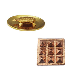 Divya Mantra Set of 2 Pure Copper Plates with 9 Wish Pyramids Vastu Dosh Nivaran Yantra Door Sticker-Brown & Feng Shui 1.5 Inch Tortoise/Turtle with 2.25 Inch Water Plate For Good Luck, Money-Yellow